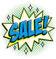 comics style sale tag blue sale web banner pop vector image