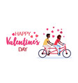 couple in love riding tandem bicycle happy vector image