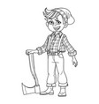cute boy in a lumberjack suit with an ax outlined vector image vector image