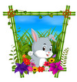 cute rabbit in bamboo frame with flower scene vector image