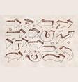doodle sketch arrows on vintage background vector image vector image