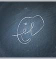 elephant head sketch drawing on chalk board vector image
