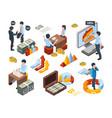 financial concept isometric businessman money vector image