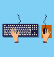 flat hands typing on keyboard with cable and blue vector image