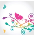 Floral card with butterfly vector image vector image