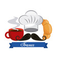 french culture set icons vector image vector image