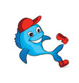 funny dolphin cartoon fish sign seafood logo vector image