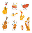 funny musical instruments cartoon characters with vector image