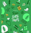 green christmas eco friendly doodle greeting card vector image vector image
