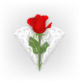 greeting card with red rose and ornamental heart vector image vector image