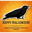 happy halloween greeting card with black raven vector image vector image