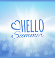 hello summer sea and the sun vector image vector image