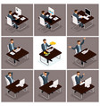 isometric businessmen joy making money vector image
