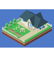 Isometric house and garden yard vector image