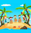 kids in jumping race on the beach vector image vector image