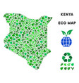 leaf green composition kenya map vector image vector image