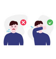 man character coughing right and wrong vector image