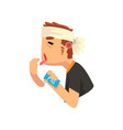 man with a bandaged head taking some headache vector image vector image