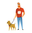 man with dog isolated on white background holding vector image vector image