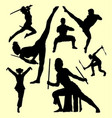 martial art and self defense silhouette vector image vector image