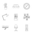 office furniture and interior set icons in outline vector image vector image