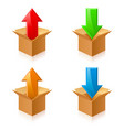 open color cardboard boxes and arrows for design vector image vector image