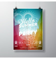 party flyer poster template on summer beach theme