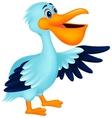 Pelican bird cartoon waving vector image vector image