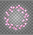 pink light bulbs circle frame on transparent vector image