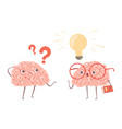 problem solving concept cartoon brains vector image vector image