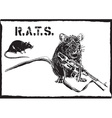rats rat with gun - freehand drawing vector image vector image