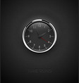 realistic deep black round clock cut out on vector image