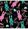 seamless black background with rabbits vector image vector image