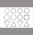 set hand drawn scribble circle square and vector image