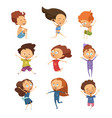 set of cute cartoon jumping kids vector image