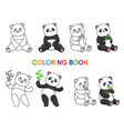 set of pandas with bamboo for coloring book vector image vector image