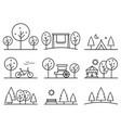 set outline design icons parkland vector image