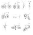 set with detailed contours of bicycles front top vector image