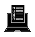 silhouette laptop computer for vote online vector image vector image
