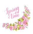 spring card with sakura flowers vector image