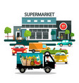 supermarket building with cars vector image vector image