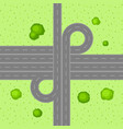 top view of road junction vector image