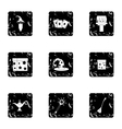 Tricks icons set grunge style vector image vector image