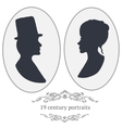 vintage card portraits with woman and man vector image
