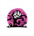 volleyball halloween moon theme vector image vector image