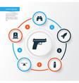 warfare icons set collection of missile slug vector image vector image