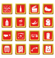 waste and garbage icons set red vector image vector image