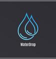 water drop logo design droplet on black vector image