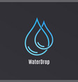 water drop logo design droplet water on black vector image