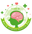 world mental health day banner or logo isolated vector image vector image